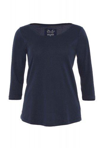 Damen ¾ - Arm Shirt Rundhalsausschnitt Biobaumwolle nachhaltige mode online kaufen_ADANA_blau