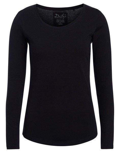 Damen Longsleeve Rundhalsausschnitt Biobaumwolle_schwarz_nachhaltige mode online kaufen ANN