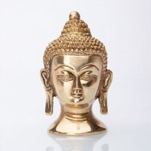 Buddha-Kopf Statue, Messing ca. 11 cm
