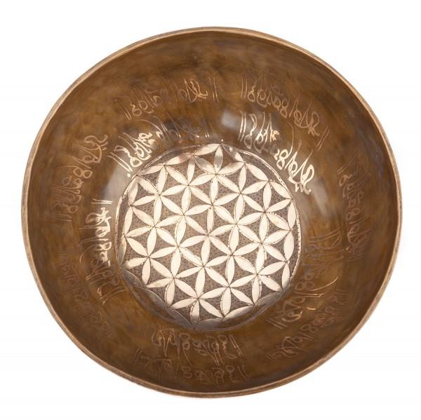 """Tibetische Klangschale """"Singing Bowl"""" mit BLUME DES LEBENS Gravur von bodhi, ca. 1700 g, Ø 23 cm"""