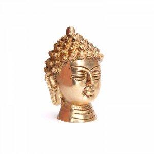 Buddha-Kopf Statue, Messing ca. 8 cm