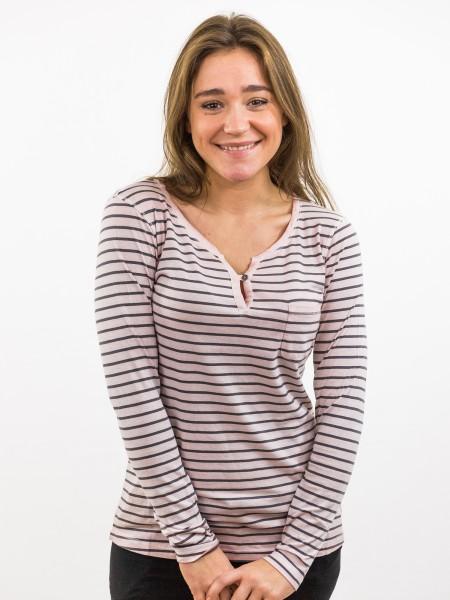 Damen Longsleeve Schlitzausschnitt Biobaumwolle Brusttasche Streifen nachhaltige mode online kaufen KASANDRA