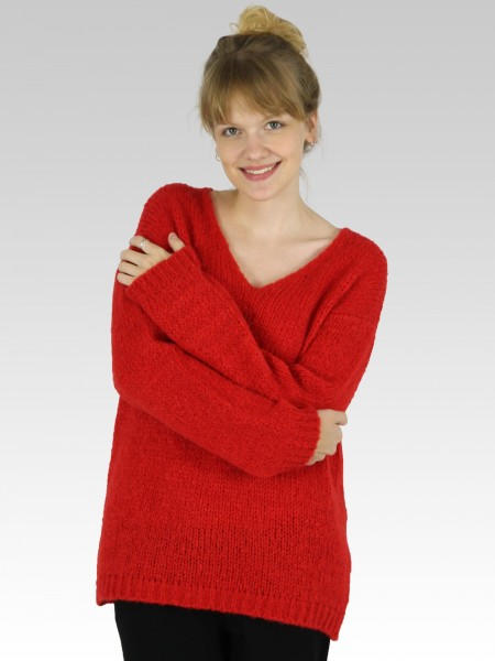 Damen Strickpullover Oversize V-Ausschnitt_red-kiss_KESHIA