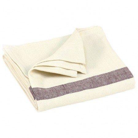 Baumwoll-Decke mit Fischgrätmuster natur