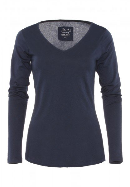 Damen Longsleeve V-Ausschnitt Biobaumwolle_blau_nachhaltige mode online kaufen  BAILEY
