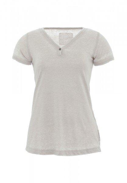 T-Shirt_Knopf-V-Ausschnitt_gerippter Abschluss_Damen_JAMILA_170140_sand