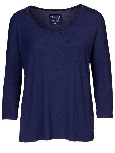 Damen Longsleeve dunkelblau Brusttasche überschnittene Schultern nachhaltige mode online kaufen KALIKA