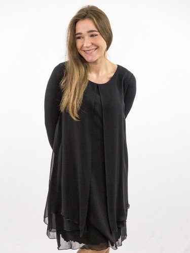 Damen_Kleid_doppellagig_weiter Schlitz_nachhaltige_mode_online_kaufen_black_KLARISSA