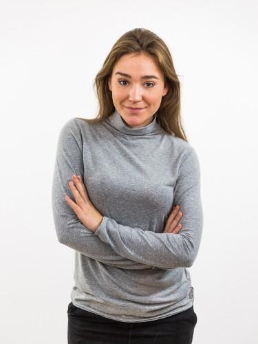 Damen Longsleeve mit hohem Kragen grau_KALAMA