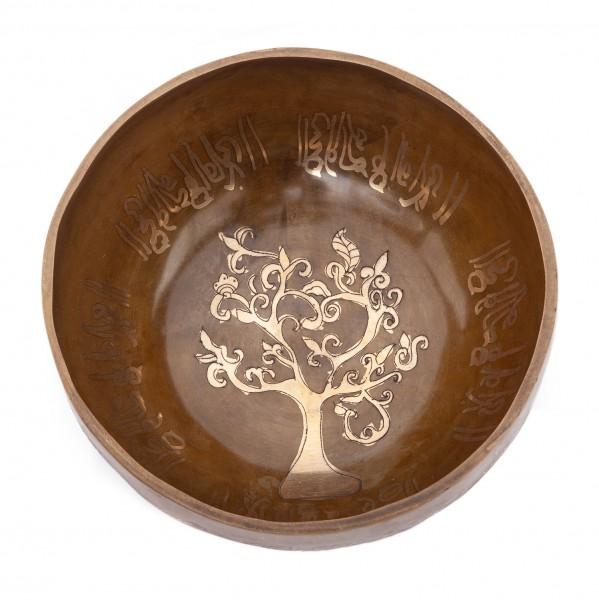 """Tibetische Klangschale """"Singing Bowl"""" mit BAUM DES LEBENS Gravur von bodhi, ca. 790 g, Ø 16 cm"""