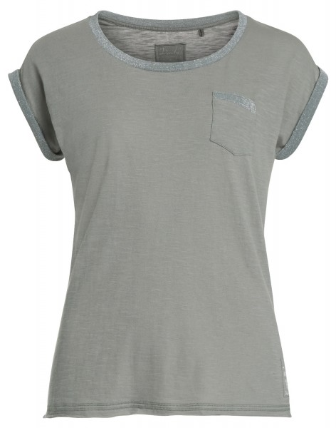 GALINA: Damen T-Shirt mit Lurex Besatz