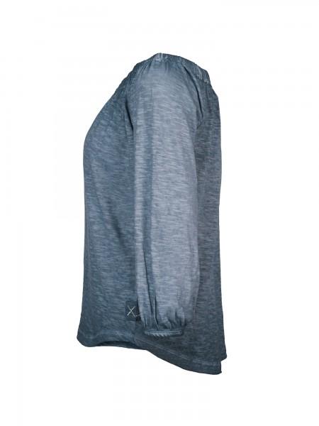 ¾ Sleeve Shirt_Carmen Ausschnitt_Leinenstruktur_Damen_ILENA_170227_blau