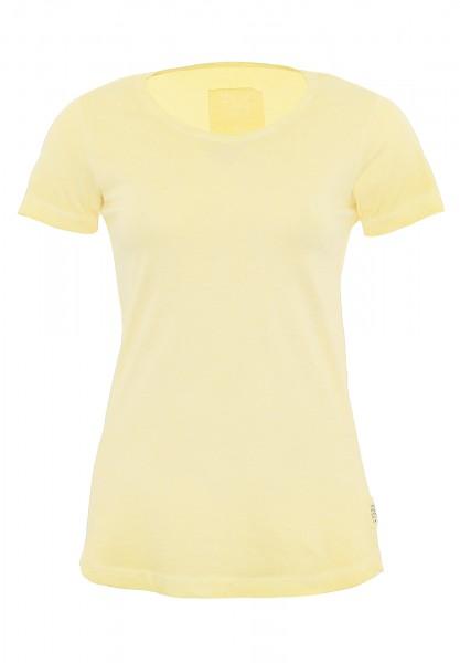T-Shirt_used wash Optik_Damen_Rundhalsausschnitt_ALINA CPD_170238_gelb