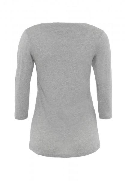 Damen ¾ - Arm Shirt Rundhalsausschnitt Biobaumwolle nachhaltige mode online kaufen_ADANA_hellgrau