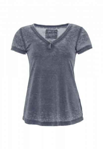 JAMILA: T-Shirt mit Knopf-V-Ausschnitt