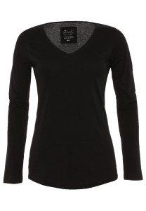 Damen Longsleeve V-Ausschnitt Biobaumwolle_schwarz_nachhaltige mode online kaufen BAILEY
