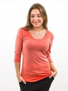 Damen ¾ Arm - Shirt Rundhalsausschnitt Biobaumwolle Used Wash Optik nachhaltige mode online kaufen ADANA