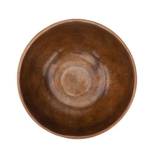 """Tibetische Klangschale """"Singing Bowl"""" mit SCHRIFTZEICHEN Gravur von bodhi, ca. 520 g, Ø 14 cm"""