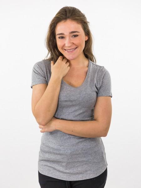 Damen T-Shirt 1/2 Arm Basic Rundhalsausschnitt Biobaumwolle nachhaltige mode online kaufen ALINA_melange grey