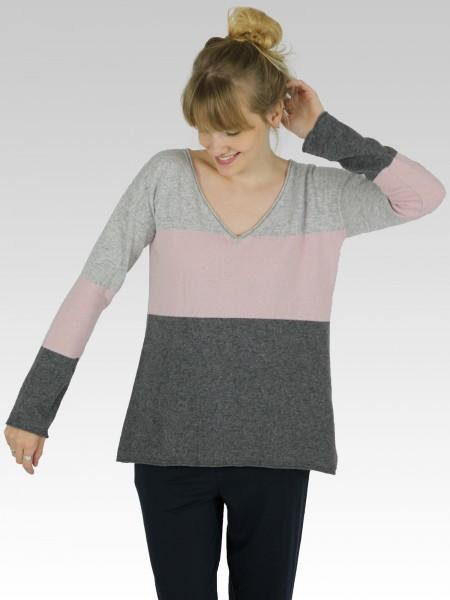 Damen Strickpullover Kaschmirmix Blockstreifen überschnittene Schultern Rollkanten nachhaltige mode online kaufen  KAY