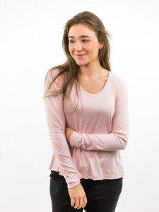 Damen Longsleeve V-Ausschnitt A-Shape offene Kanten nachhaltige mode online kaufen JENNICE