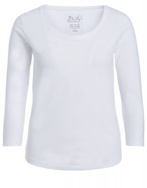 Damen ¾ - Arm Shirt Rundhalsausschnitt Biobaumwolle nachhaltige mode online kaufen_ADANA_weiß