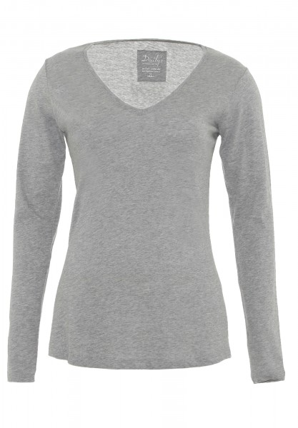 Damen Longsleeve V-Ausschnitt Biobaumwolle_grau_nachhaltige mode online kaufen  BAILEY