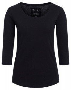 Damen ¾ - Arm Shirt Rundhalsausschnitt Biobaumwolle nachhaltige mode online kaufen_ADANA_schwarz